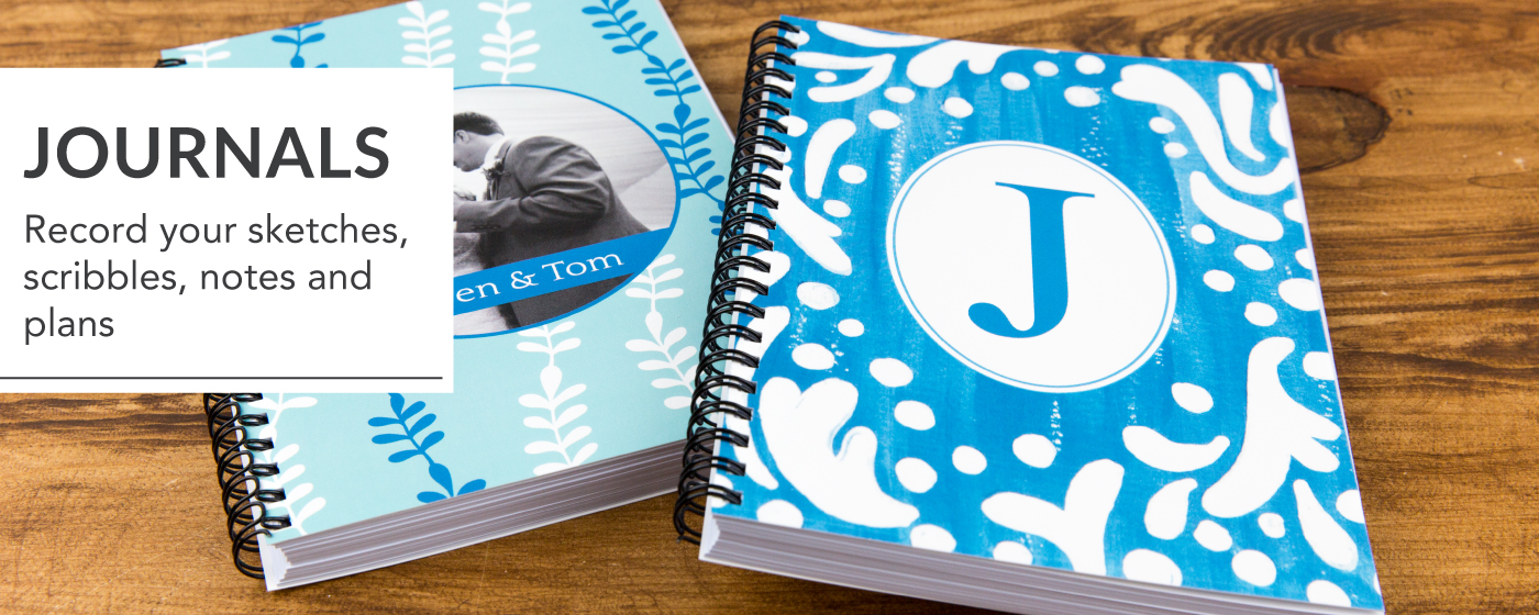 2 Personalized Blank Spiral Journals with Image & Initial