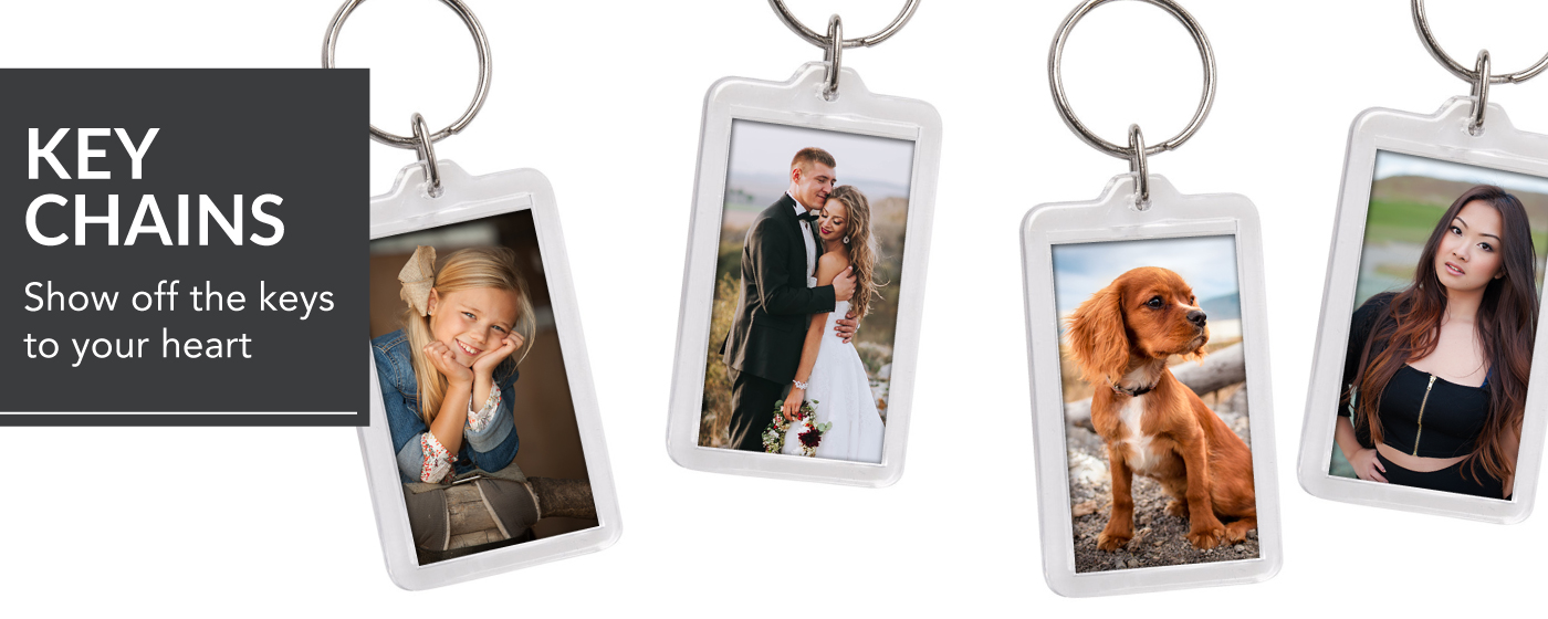 Photos of a little girl, bride & groom, dog & senior girl printed on Photo Key Chains
