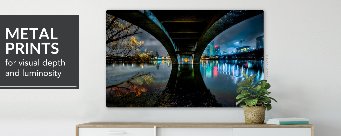 Cityscape from under a Bridge Printed on Single Metal Prints