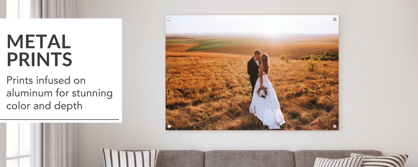 Bride & Groom in a Field for First Look Printed on Metal Prints