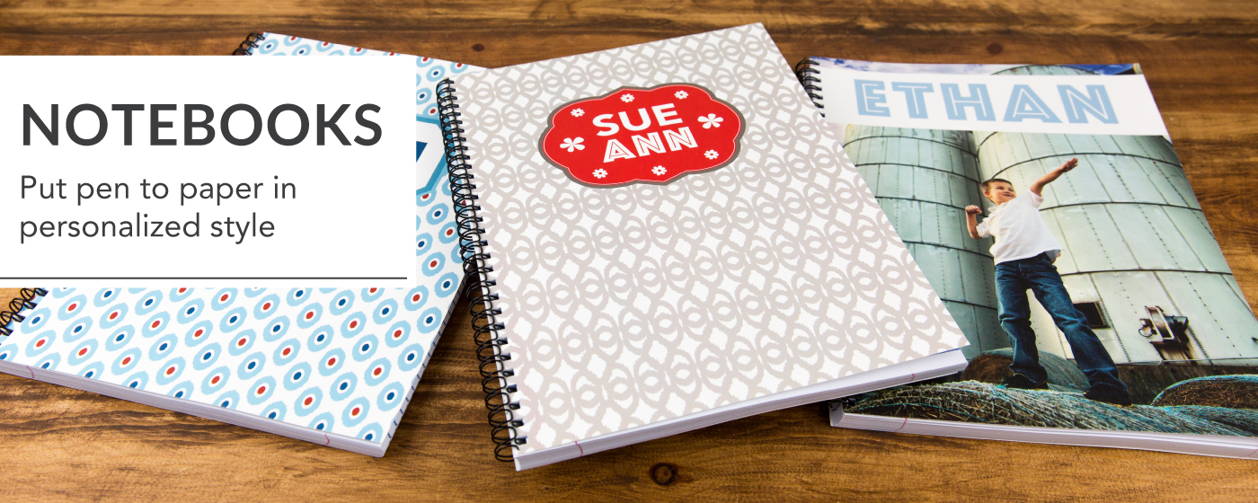 3 Personalized Designed Notebooks with Names & Images on Cover