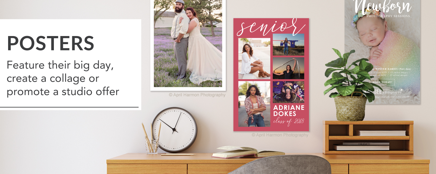 3 posters of senior girl,bride & groom & newborn baby.