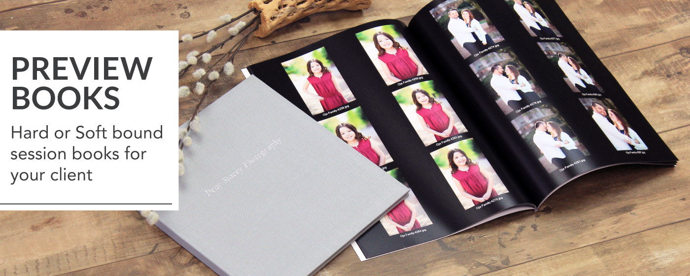 Press Preview Book in soft & hard cover laying open on table displaying family photo session