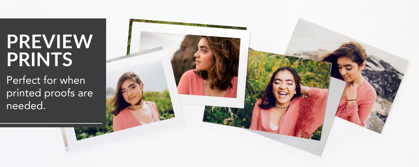 Senior Portraits of a girl in a pink shirt Printed on Preview Prints