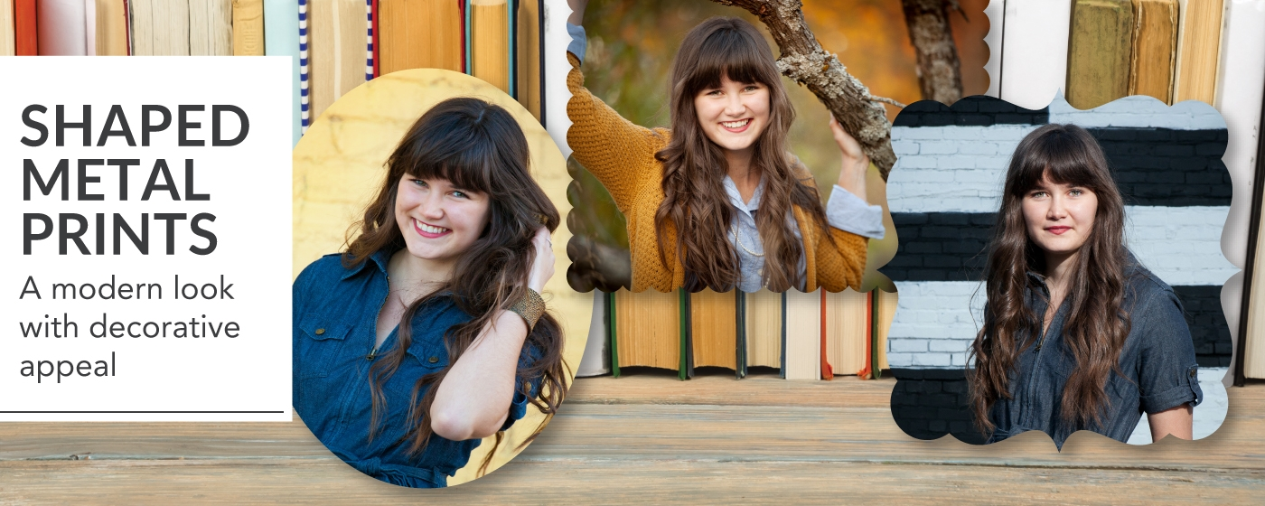 Senior Session Printed on Shaped Metal Prints Placed on a Bookshelf