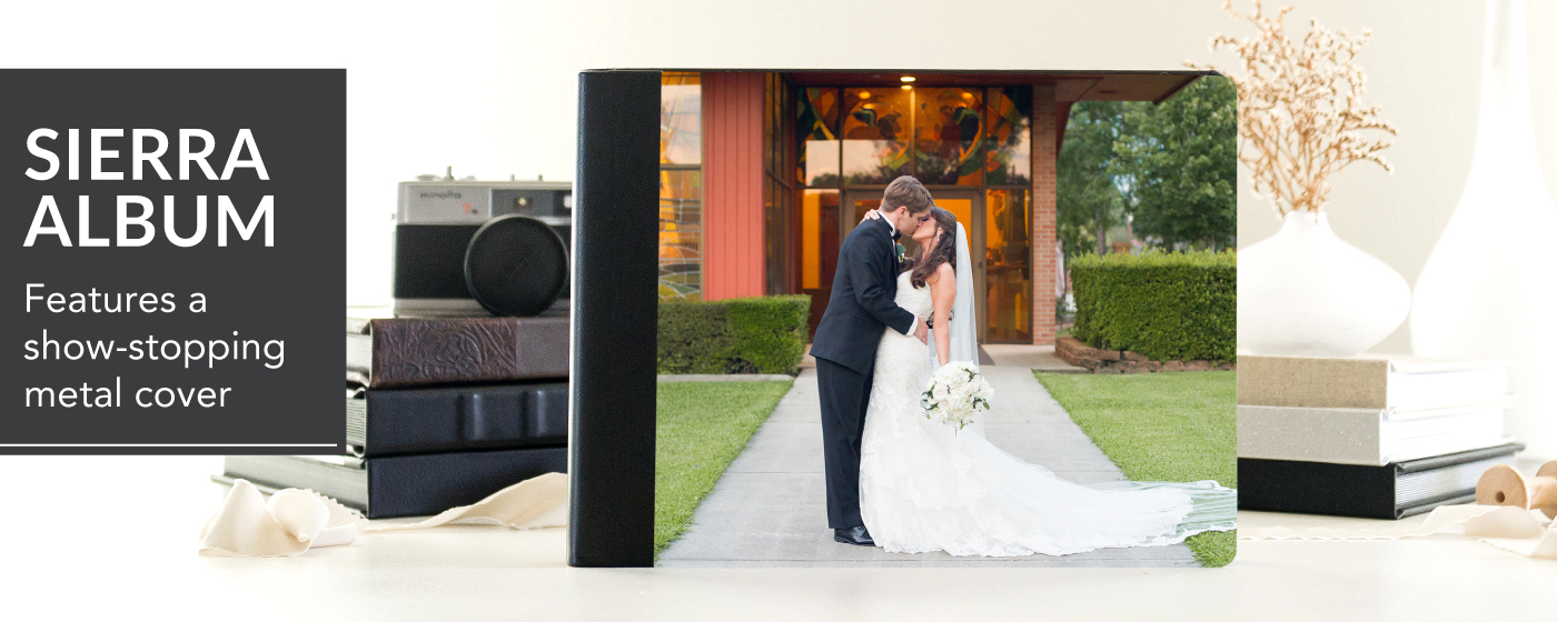 Sierra Album with image of bride & groom kissing on cover