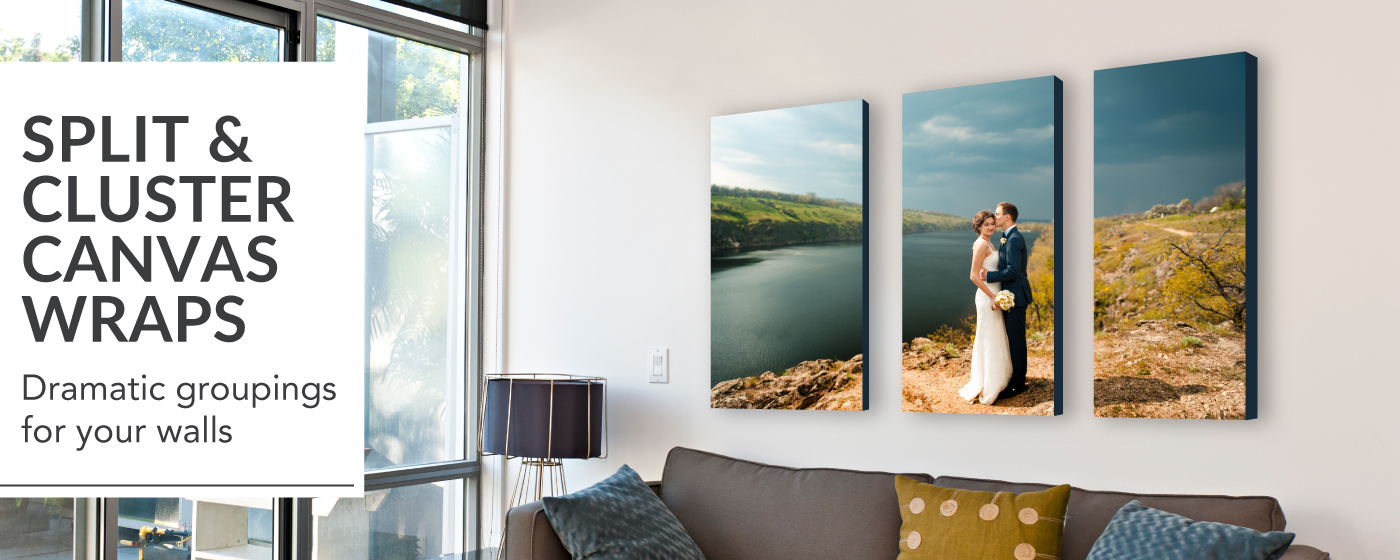 Wedding portrait in a Split Image Canvas Gallery Wrap displayed above modern living room sofa