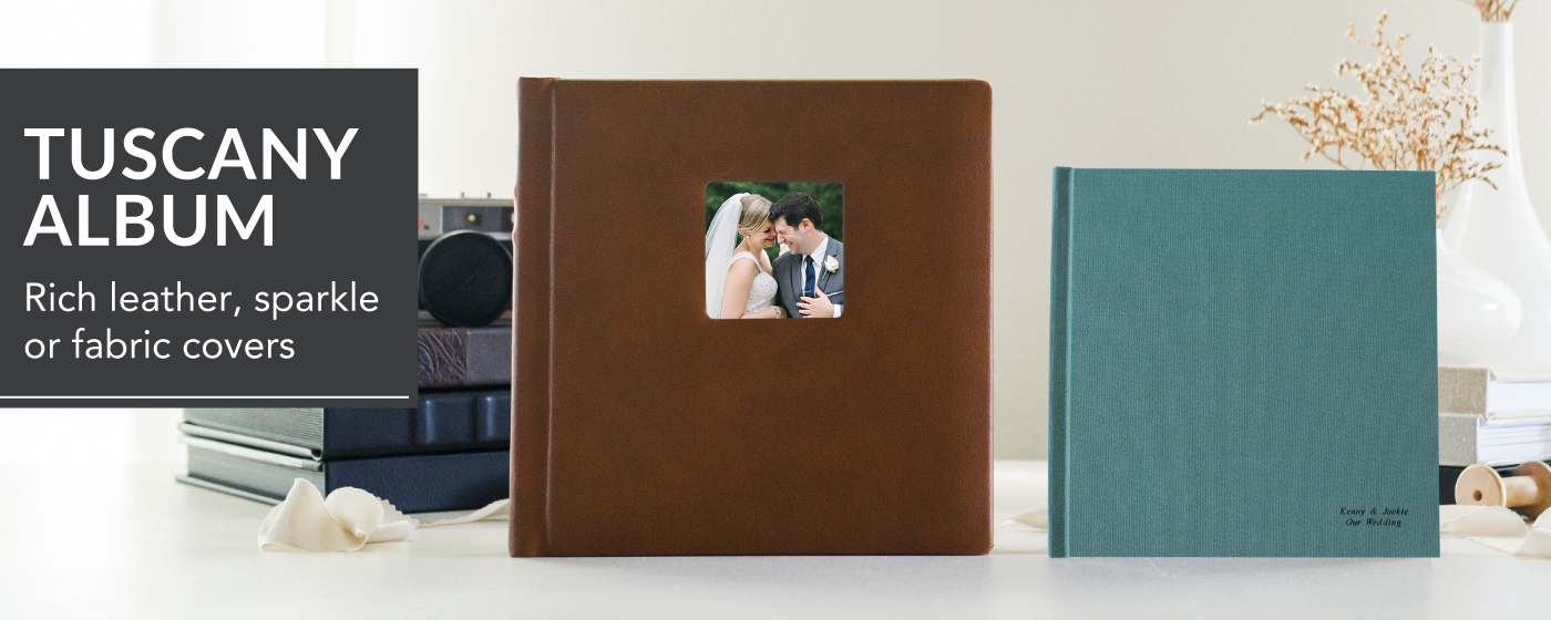 Brown Leather Tuscany Album with Cameo of Bride & Groom Kissing in a Car