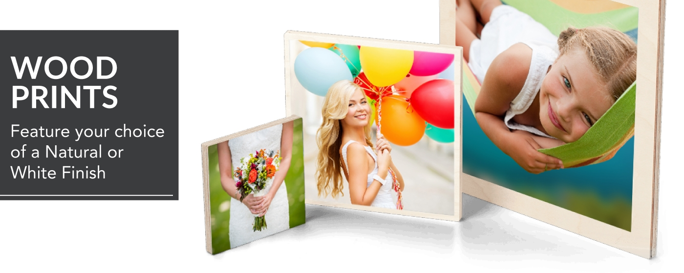 Girl in Hammock, Teen Girl with Balloons & Bride Holding Bouquet Printed on Wood Prints