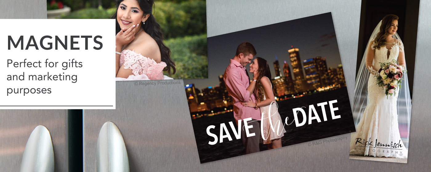 Save the date, bride & senior girl in formal dress printed on magnets & placed on a refrigerator