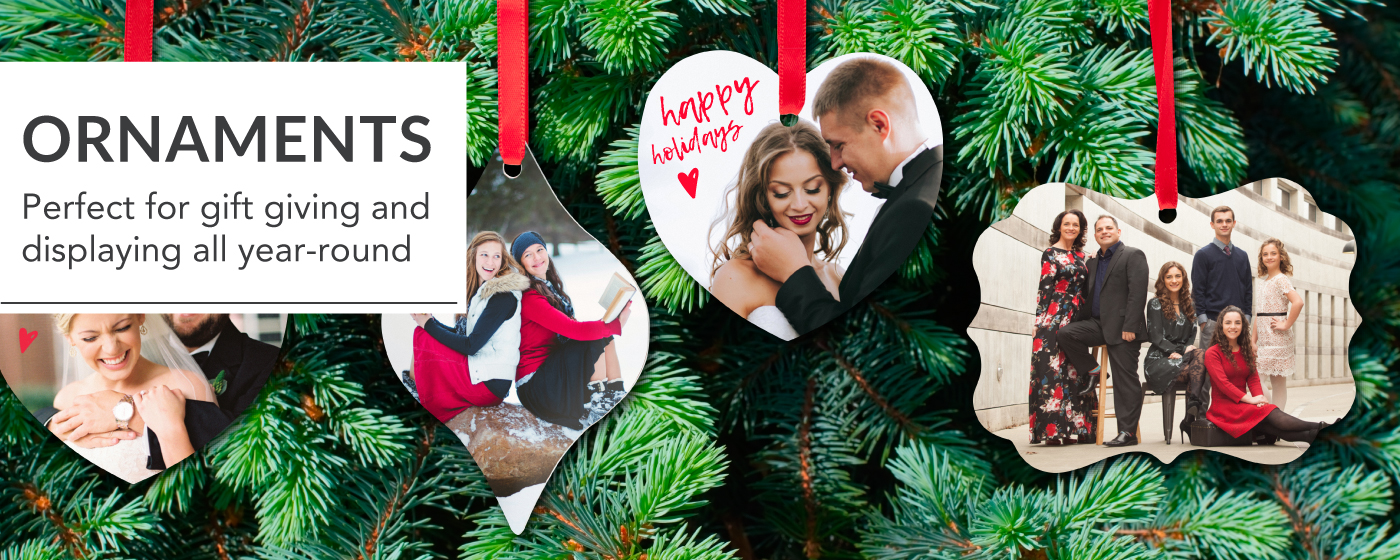 Wedding & Family Photos Printed on Metal Ornaments Hanging on a Tree with Red Ribbon