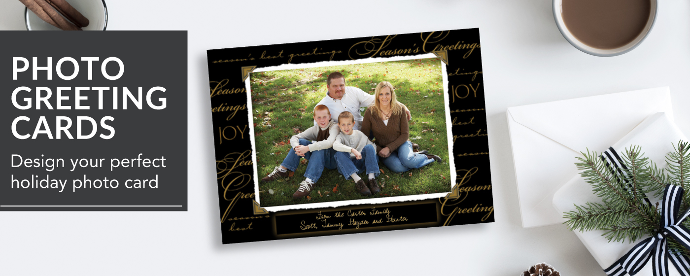 Black & Gold Holiday Photo Paper Greeting Cards with image of a family