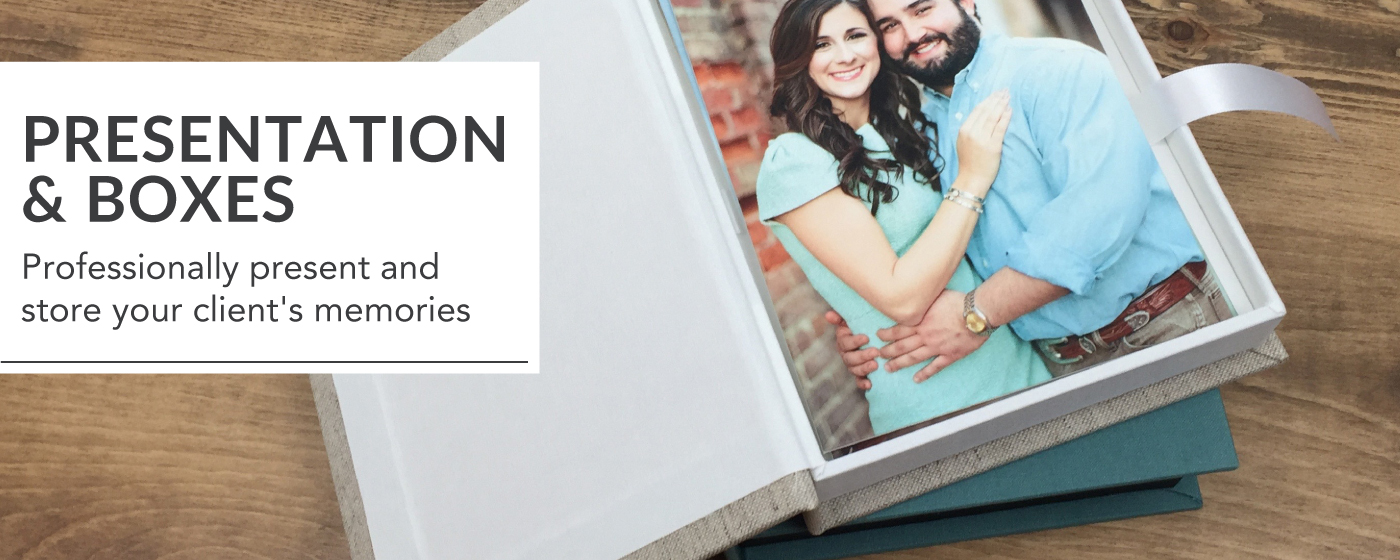Engaged Couple in Blue Printed on Folio Prints Inside Folio Image Box