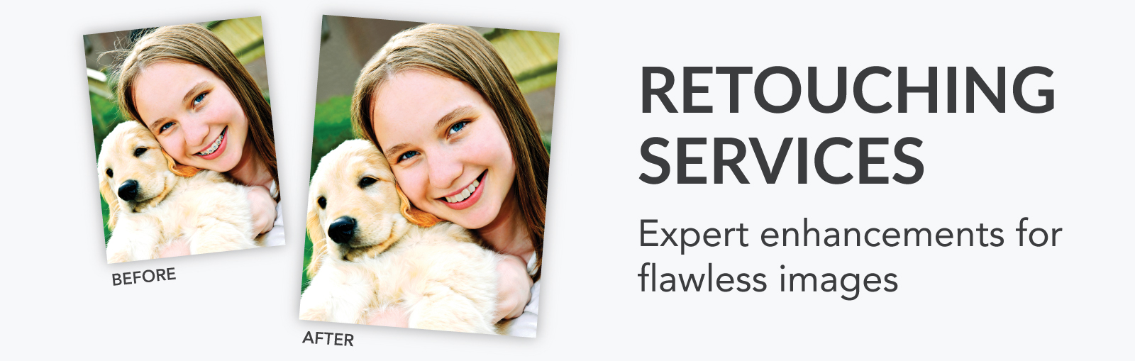 Comparison of Retouching Services of Two Images of Little Girl with Puppy