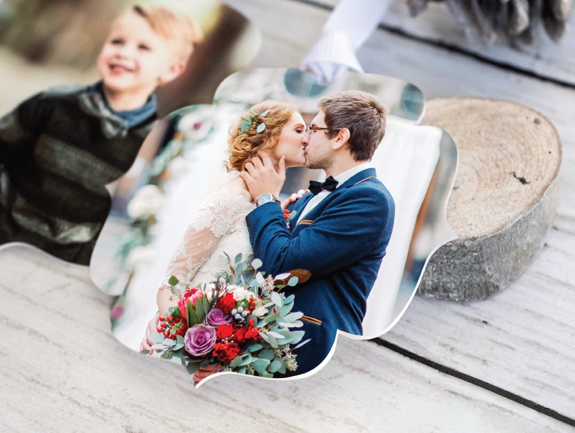 Wedding Portrait of Bride & Groom kissing on an extra-thick LOFT Paper Ornament with White Ribbon