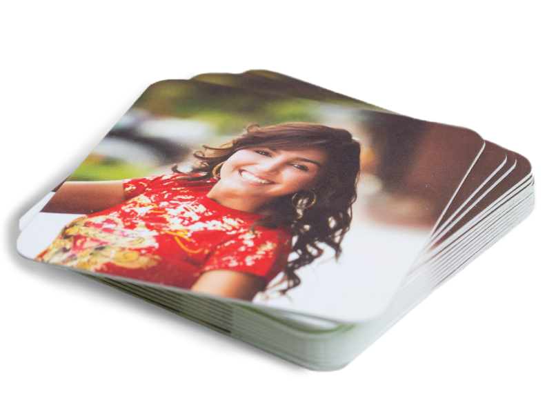 Photo of Woman in Red Floral Shirt Printed on LOFT Extra Thick Coasters