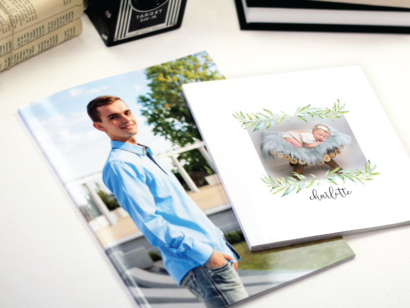 Male senior photos & newborn photos printed on 2 different sizes of Custom Magazines