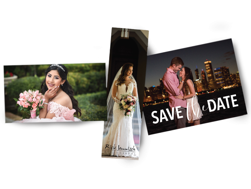 Save the date, bride & senior girl in formal dress printed on magnets