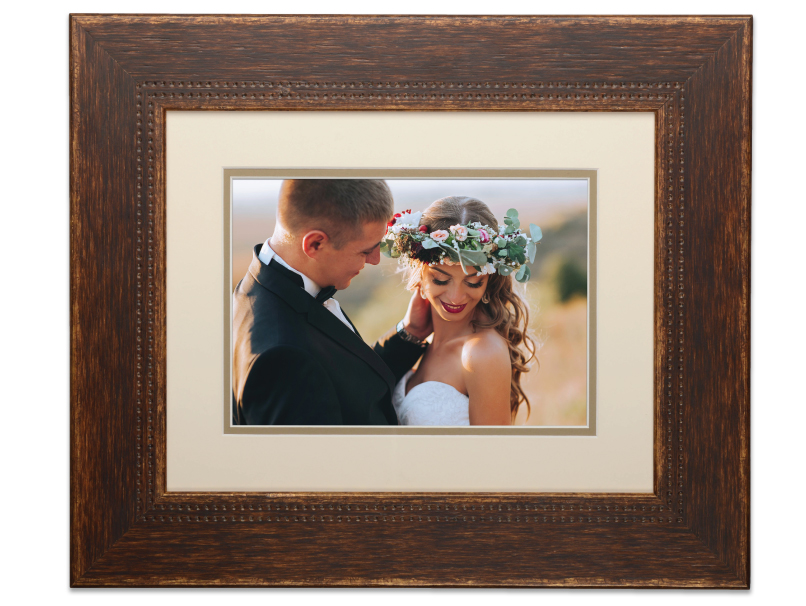 Bride & Groom Printed on Photographic Print & Placed in Frame with Off White Mat