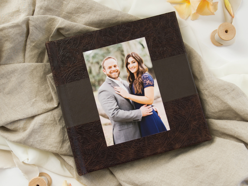 2 Tone Brown Leather Cover Mosaic Album With Engaged Couple Cover