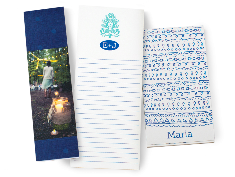 Blue Swirl Design, photograph & initials on Covered & Coverless Notepads