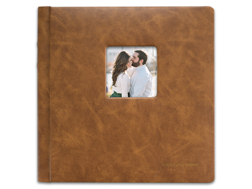 Brown Leather Tuscany Album with a Cameo of an Engaged Couple