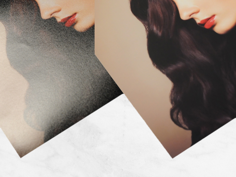 2 images of Woman with Long Dark Brown Curly Hair on 2 Different Paper Types; Luster & Metallic