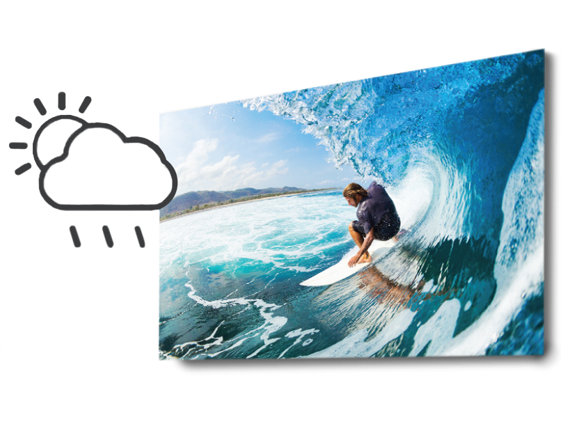 Man on a Surfboard riding a wave printed on Performance EXT Metal Print