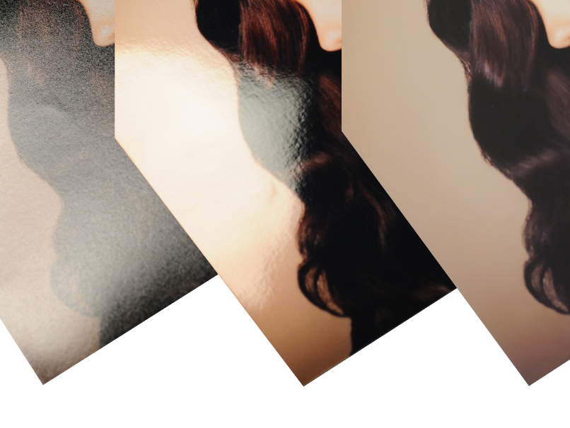 3 images of Woman with Long Dark Brown Curly Hair on 3 Different Paper Types; Luster, Metallic & Deep Matte
