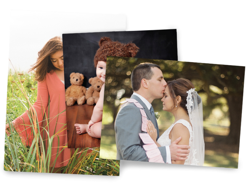 Wedding, baby & senior photos printed on different sizes of preview prints