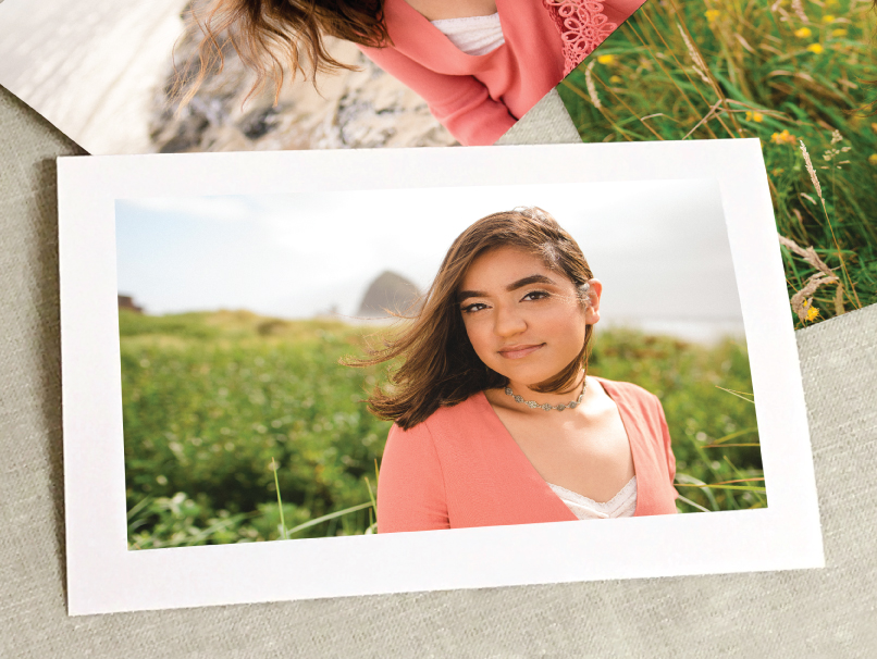 Senior Photo of a girl in pink shirt printed on preivew print with a border