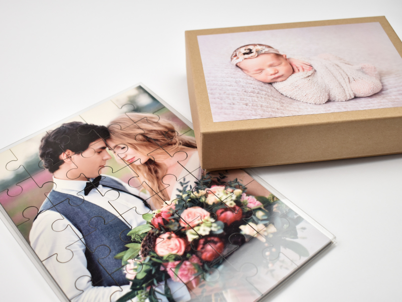 Store your Printed Custom Puzzles in a clear plastic folio case or kraft box