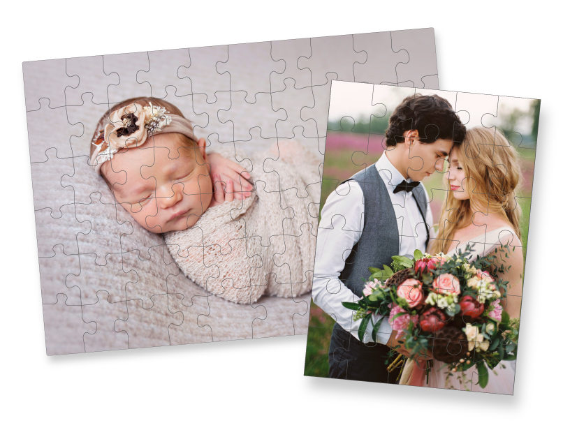 Custom Printed Photo Puzzles of a Sleeping Newborn and Wedding Couple in a Field