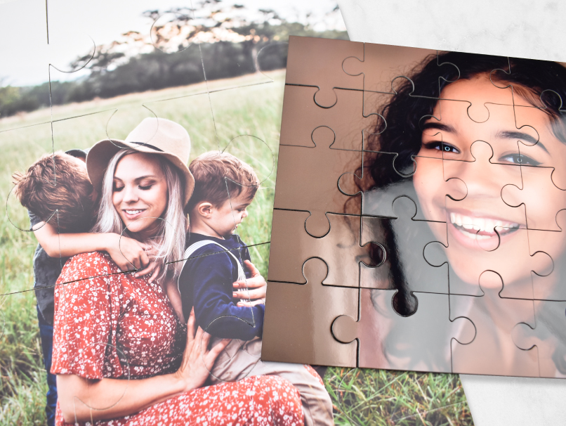 Custom Printed Photo Puzzles of a Mother and Children in a Field and a Graduating Senior
