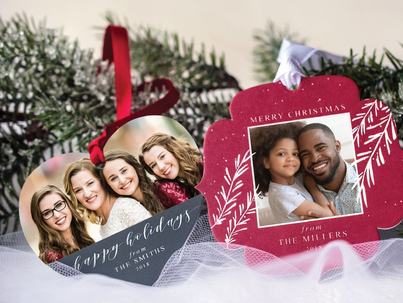 A shaped metal ornament and shaped paper ornament showing custom photos of a Mother with Daughters and Father with Daughter