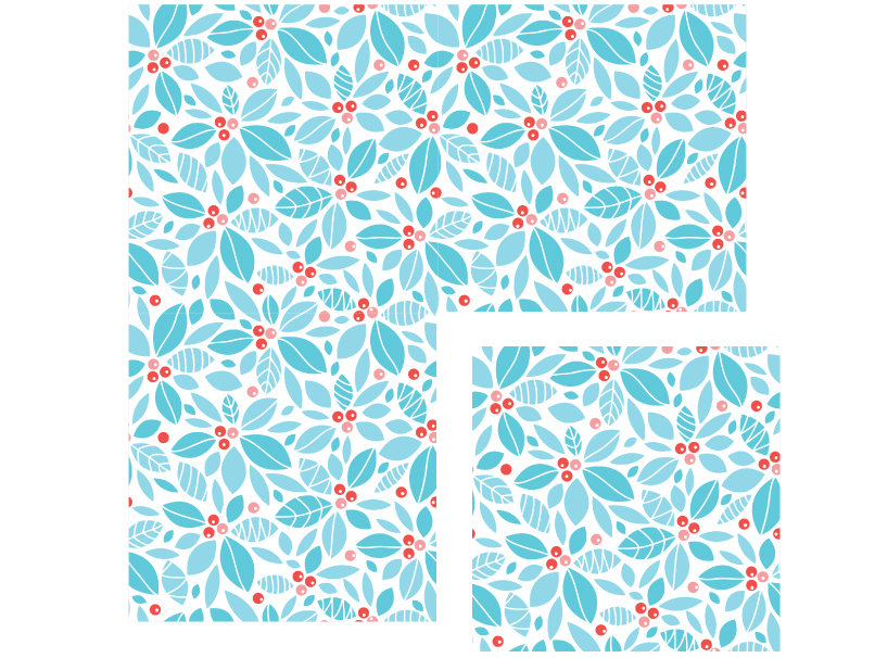 Flat piece of floral wrapping paper in a repeating pattern