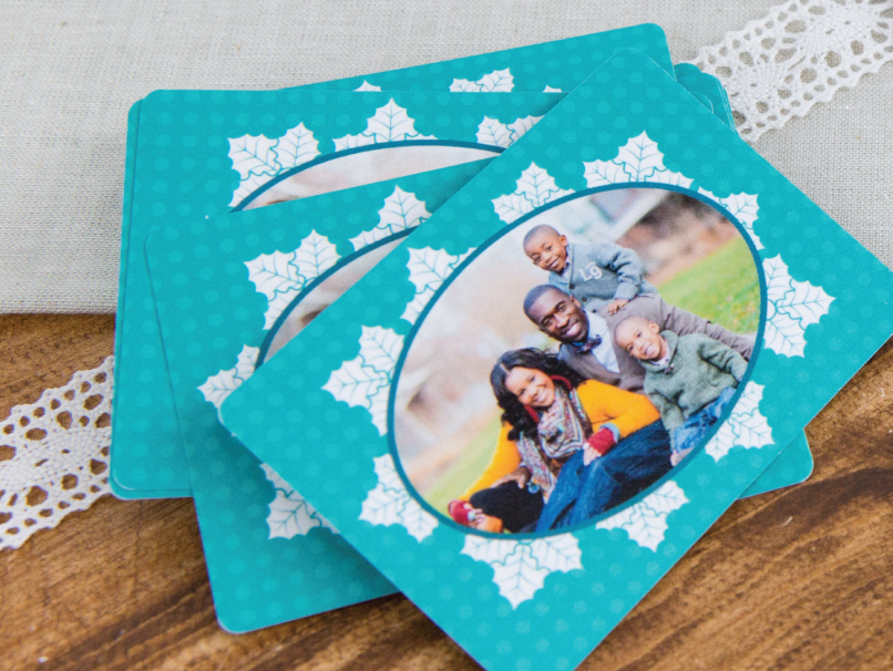 Family Portrait Printed on Bookmark With Teal Illustrated Frame Around Image