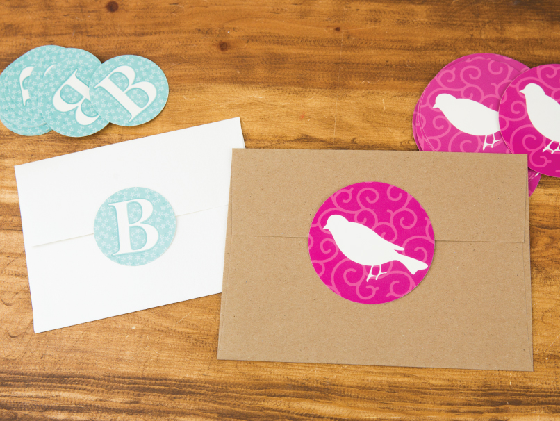 Custom-Printed Stickers with Teal B & Pink Birds on Back of Envelopes