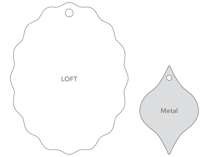 Size comparison of LOFT paper ornaments versus metal ornaments on aluminum