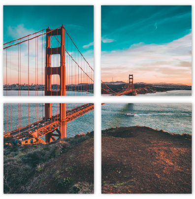 Golden Gate Bridge Printed on Split Image Metal Print