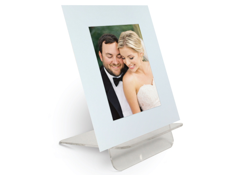 Photo of Bride & Groom Mounted in DIY Photo Mat Displayed on Acrylic Easel