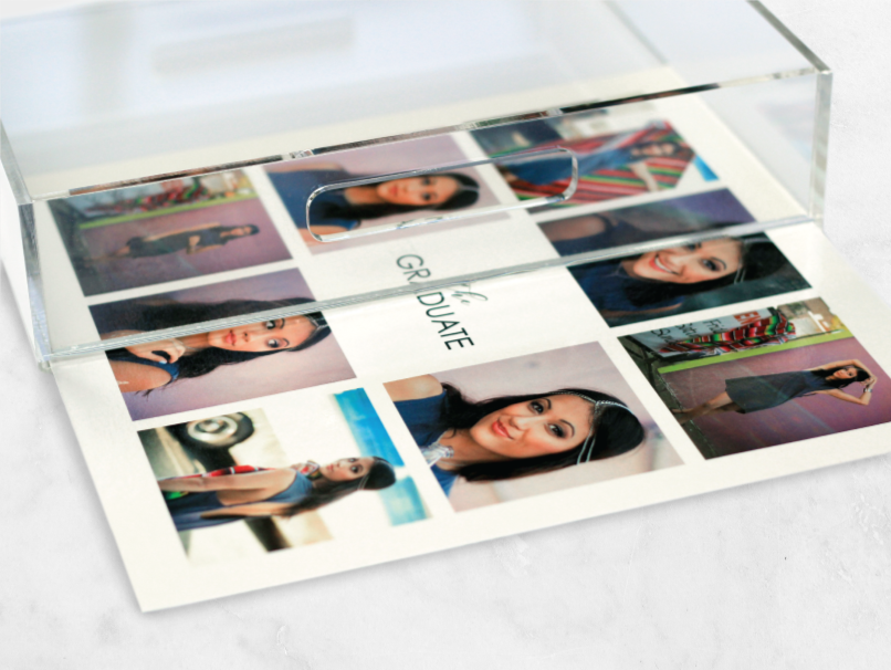 Photos of a Senior girl printed on a placemat & placed in an acrylic tray