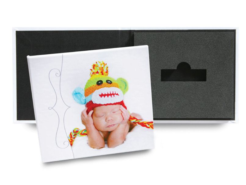Baby in Multi Colored Monkey Hat Printed on Cover of USB Case