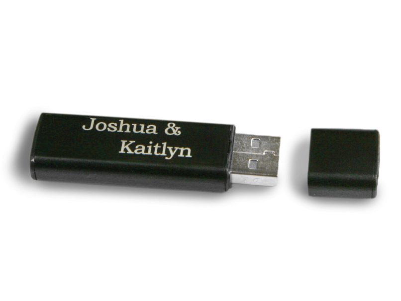 Black USB Thumbdrive with Lid Off with Bride & Groom's Names Engraved