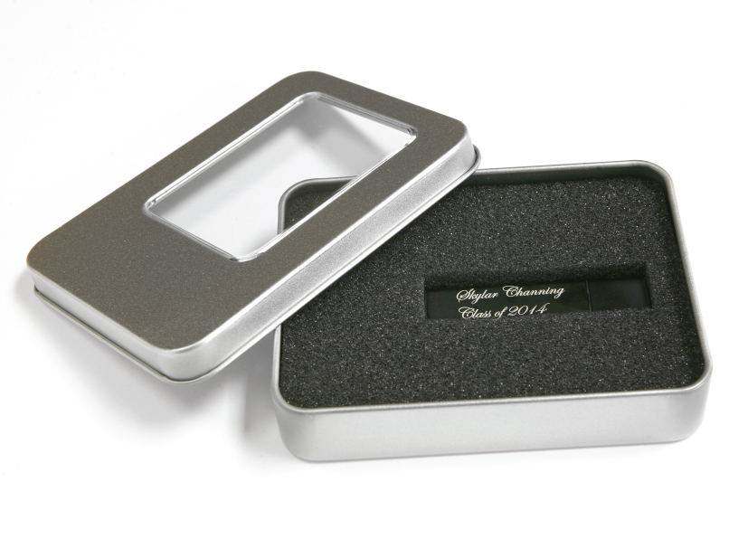Silver USB Tin Storage with Window