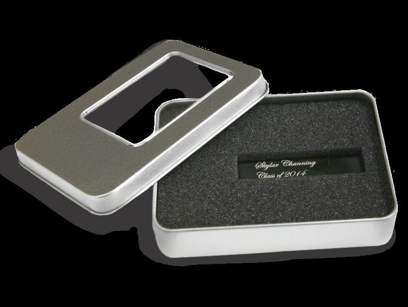 Silver USB Tin Storage with Window