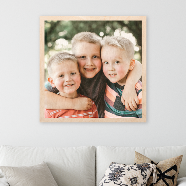 Photo of Three Smiling Boys Printed on Maple Wood Print with Natural Wood Grain Showing Through Image