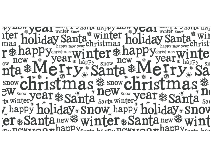 Word cloud of Christmas themed words in black on white background with snowflakes printed on wrapping paper