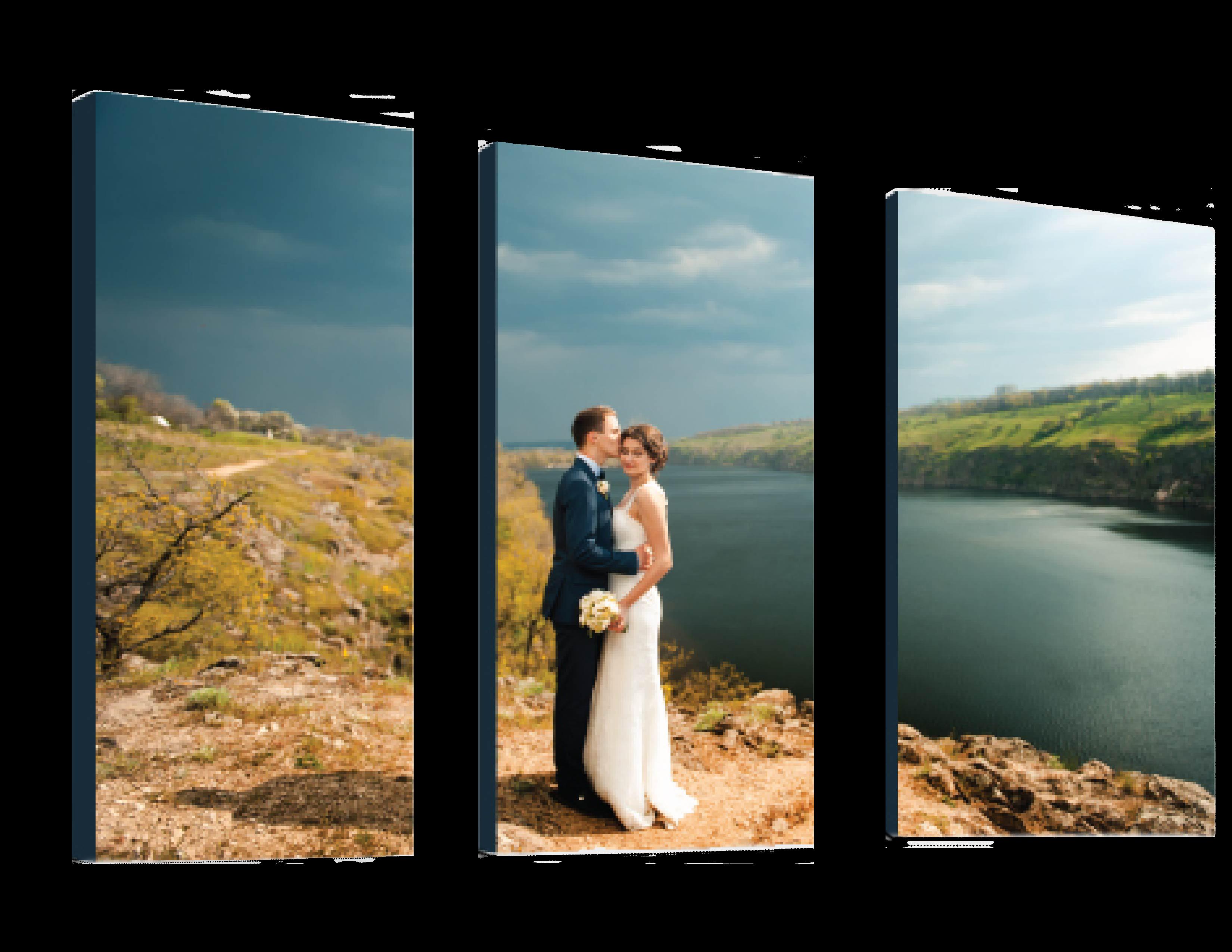 Thumbnail of Wedding Portrait River Landscape Printed                 on Split Image Canvas Gallery Wraps