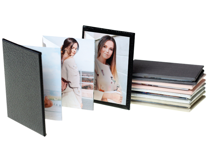 Senior Photos Printed in Accordion Memory Book with Black Faux Leather Cover